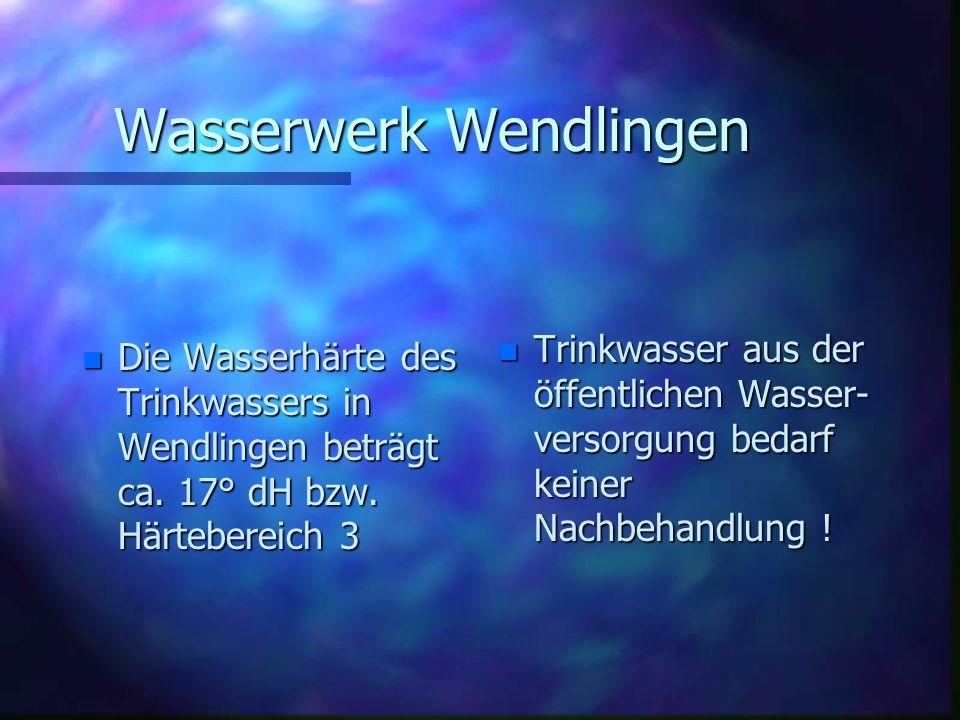 Wasserwerk Wendlingen Fördermengen und Wasserabgabe Stand 2006 n Eigenwasser n Eigenwasser 440430 m³ n Fernwasser n Fernwasser 478424 m³ n Gesamtabgab