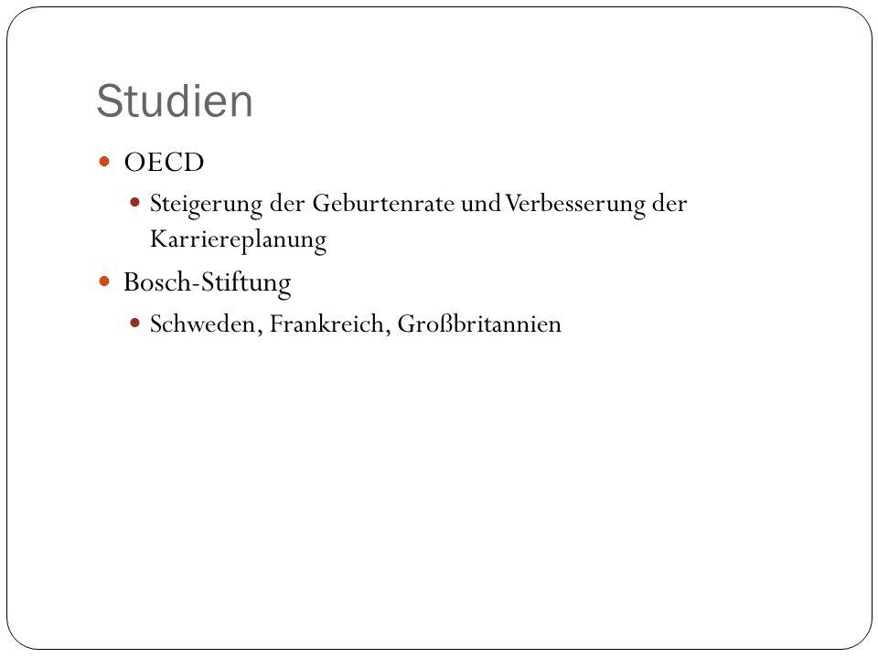 Studien OECD Steigerung der Geburtenrate und Verbesserung der Karriereplanung Bosch-Stiftung Schweden, Frankreich, Großbritannien