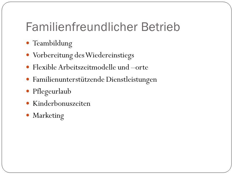 Familienfreundlicher Betrieb Teambildung Vorbereitung des Wiedereinstiegs Flexible Arbeitszeitmodelle und –orte Familienunterstützende Dienstleistungen Pflegeurlaub Kinderbonuszeiten Marketing