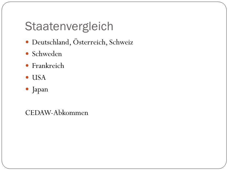 Staatenvergleich Deutschland, Österreich, Schweiz Schweden Frankreich USA Japan CEDAW-Abkommen