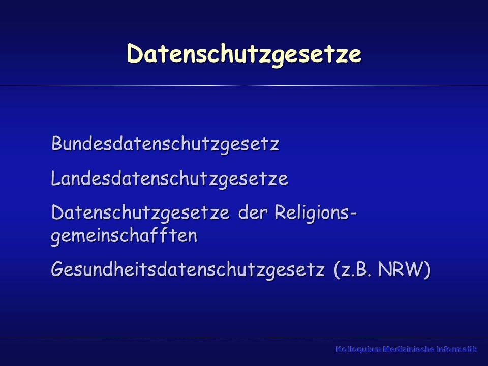 Datenschutzgesetze BundesdatenschutzgesetzLandesdatenschutzgesetze Datenschutzgesetze der Religions- gemeinschafften Gesundheitsdatenschutzgesetz (z.B