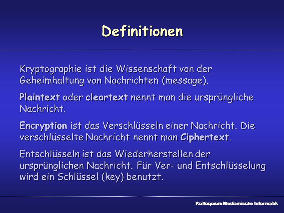 Definitionen Kryptographie ist die Wissenschaft von der Geheimhaltung von Nachrichten (message). Plaintext oder cleartext nennt man die ursprüngliche