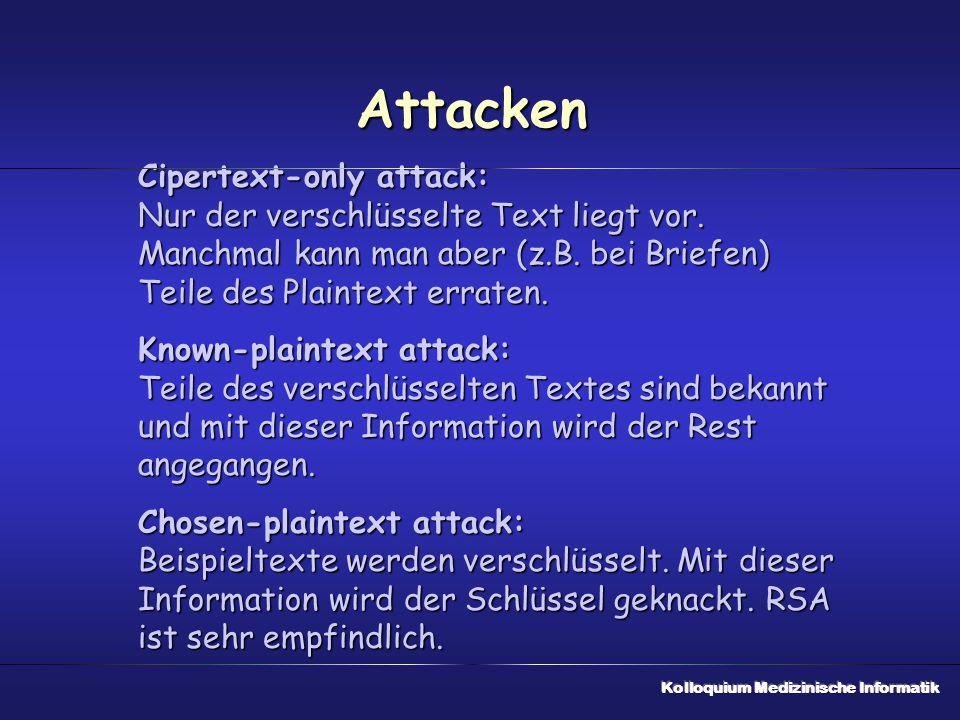 Attacken Cipertext-only attack: Nur der verschlüsselte Text liegt vor. Manchmal kann man aber (z.B. bei Briefen) Teile des Plaintext erraten. Known-pl