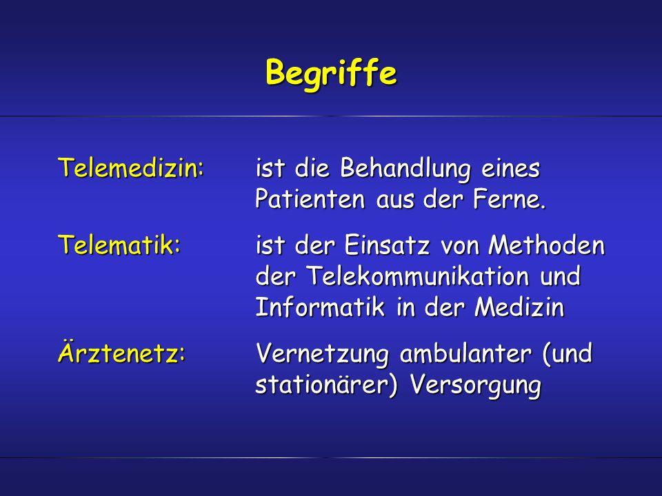 Begriffe Telemedizin: ist die Behandlung eines Patienten aus der Ferne. Telematik:ist der Einsatz von Methoden der Telekommunikation und Informatik in