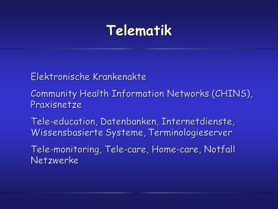 Telematik Elektronische Krankenakte Community Health Information Networks (CHINS), Praxisnetze Tele-education, Datenbanken, Internetdienste, Wissensba