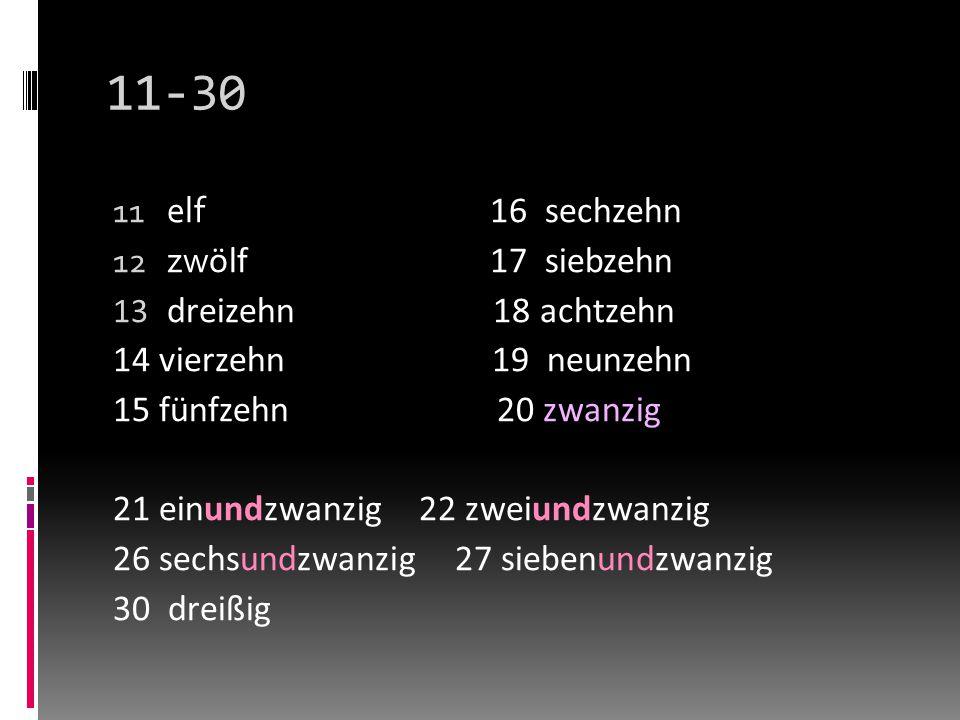 11-30 11 elf 16 sechzehn 12 zw ӧlf17 siebzehn 13 dreizehn 18 achtzehn 14 vierzehn 19 neunzehn 15 fünfzehn 20 zwanzig 21 einundzwanzig 22 zweiundzwanzig 26 sechsundzwanzig 27 siebenundzwanzig 30 dreißig