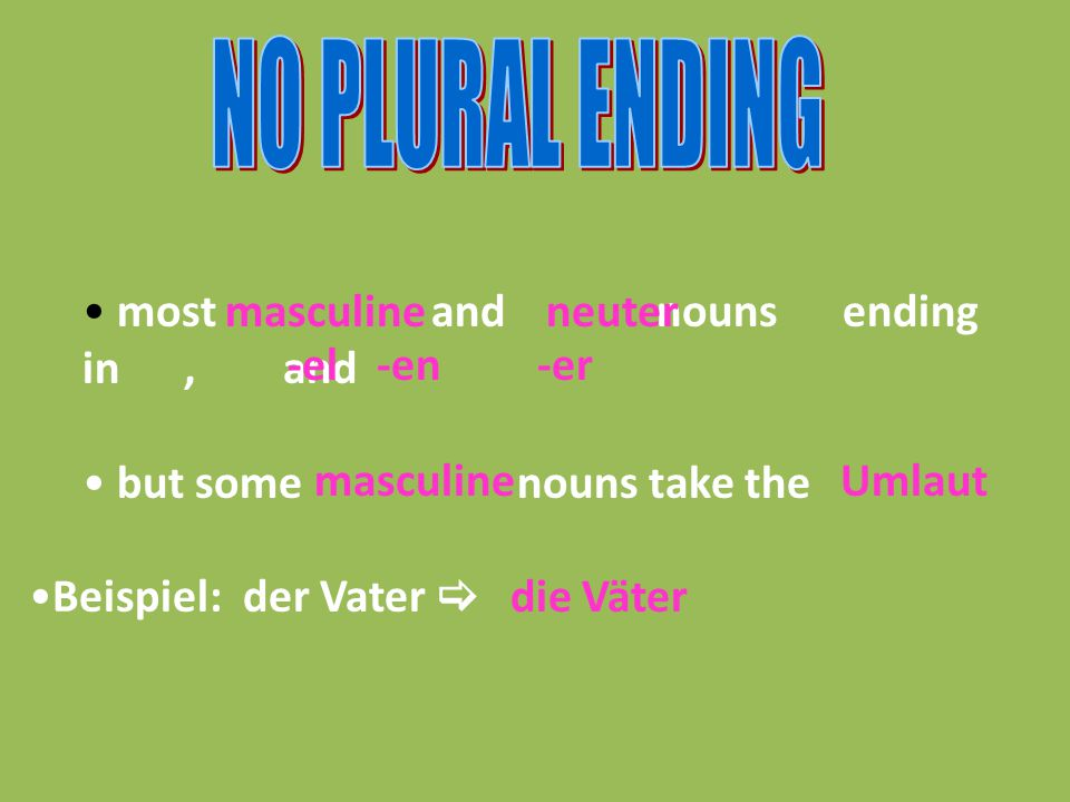 most and nouns ending in, and but some nouns take the Beispiel: der Vater  masculineneuter -el-en-er masculineUmlaut die Väter