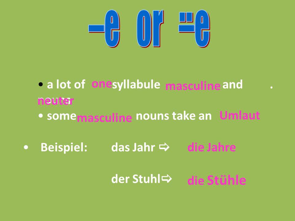 a lot of syllabule and. nouns some nouns take an Beispiel:das Jahr  der Stuhl  one masculine neuter masculine Umlaut die Jahre die Stühle