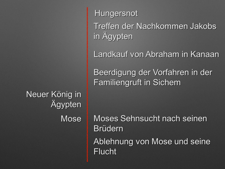 Hungersnot Treffen der Nachkommen Jakobs in Ägypten Beerdigung der Vorfahren in der Familiengruft in Sichem Landkauf von Abraham in Kanaan Neuer König