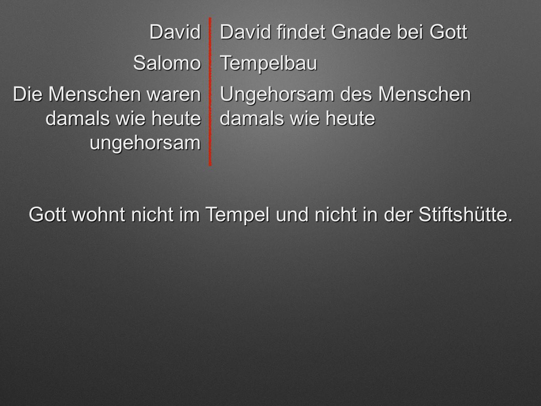 David David findet Gnade bei Gott SalomoTempelbau Ungehorsam des Menschen damals wie heute Die Menschen waren damals wie heute ungehorsam Gott wohnt n