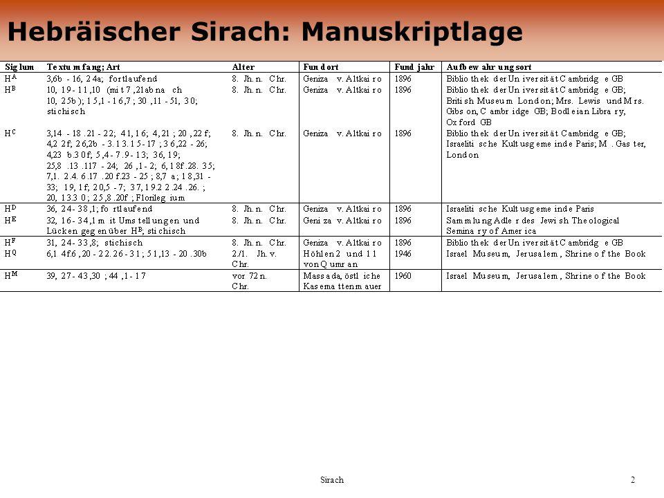 Sirach3 Textüberlieferung H(Ben Sira), ca.