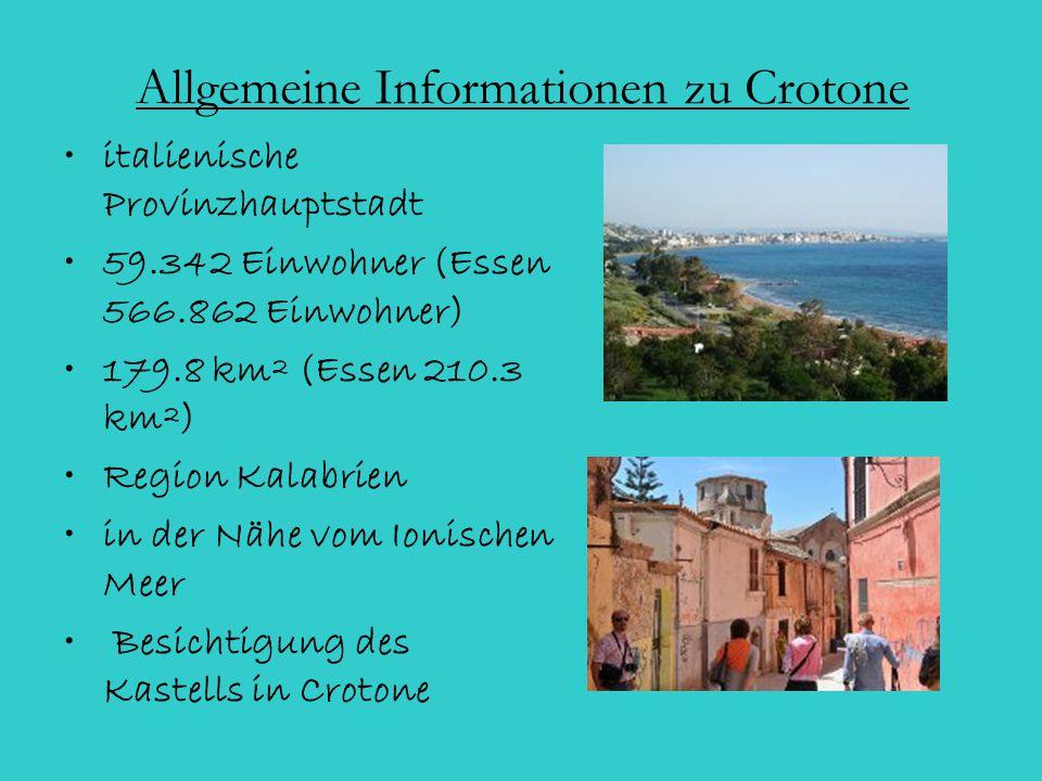Allgemeine Informationen zu Crotone italienische Provinzhauptstadt 59.342 Einwohner (Essen 566.862 Einwohner) 179.8 km² (Essen 210.3 km²) Region Kalab