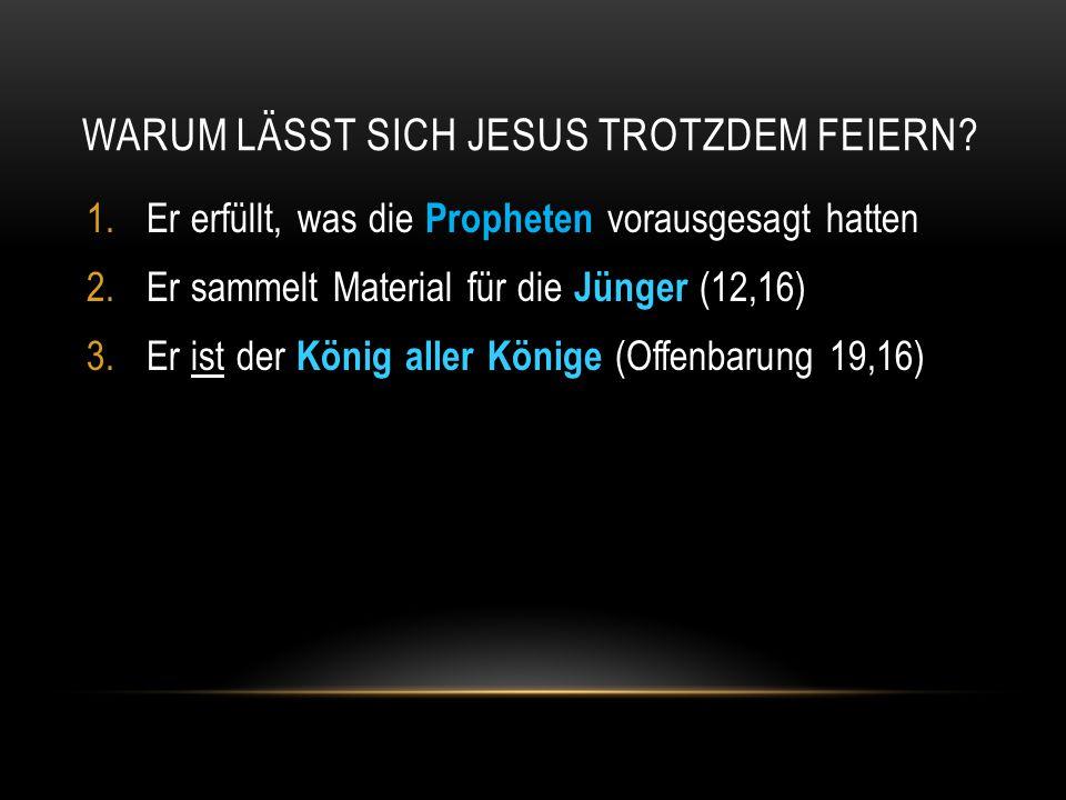 MIT KÖNIG DER JUDEN BEGIBT SICH JESUS AUFS POLITISCHE PARKETT  Damit liefert er seinen Gegnern das entscheidende Argument, um bei Pilatus die Todesstrafe zu beantragen (Johannes 19,12)  Theologische Argumente ( Gottes Sohn ) genügten den Römern nicht für eine Verurteilung  Deshalb interessierten Pilatus vor allem die politischen Argumente der Gegner Jesu: Bist du der König der Juden? (Johannes 18,33-38)