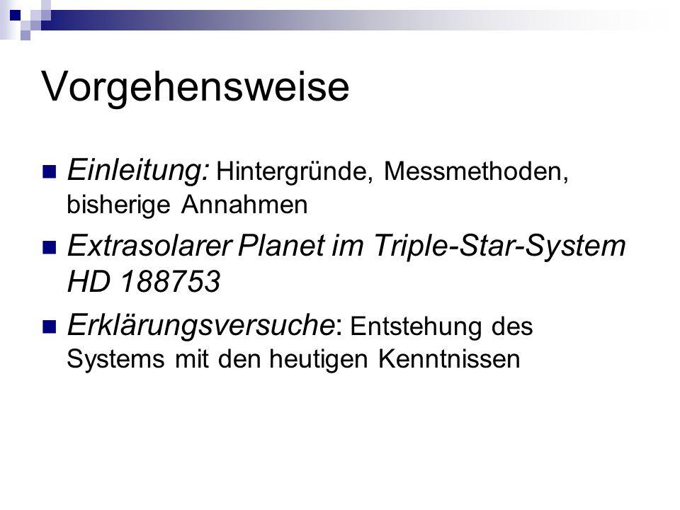Vorgehensweise Einleitung: Hintergründe, Messmethoden, bisherige Annahmen Extrasolarer Planet im Triple-Star-System HD 188753 Erklärungsversuche: Entstehung des Systems mit den heutigen Kenntnissen