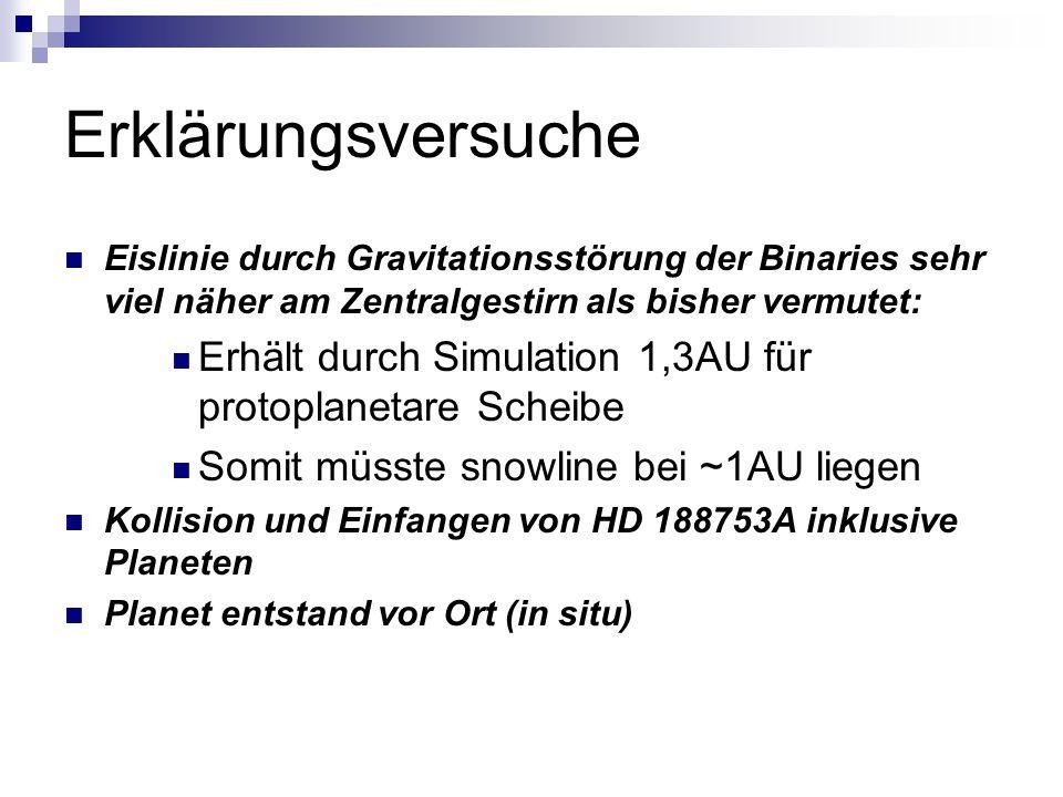 Erklärungsversuche Eislinie durch Gravitationsstörung der Binaries sehr viel näher am Zentralgestirn als bisher vermutet: Erhält durch Simulation 1,3A