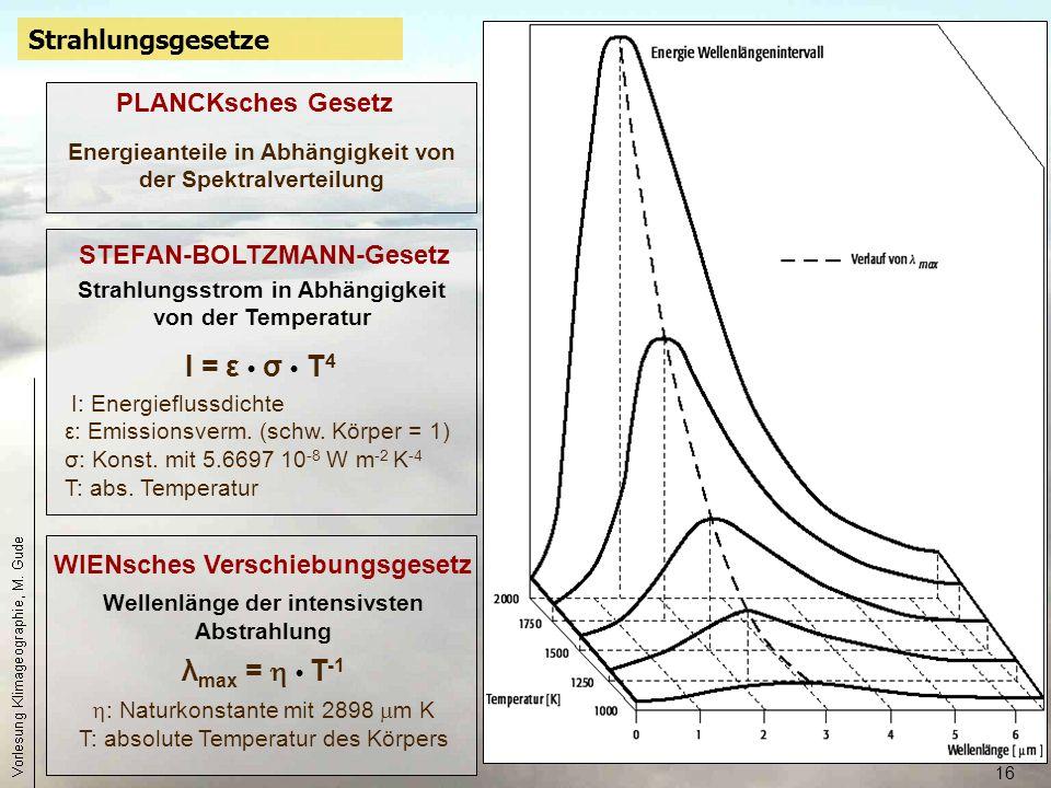 16 Strahlungsgesetze WIENsches Verschiebungsgesetz Wellenlänge der intensivsten Abstrahlung λ max =  T -1  : Naturkonstante mit 2898  m K T: absolu