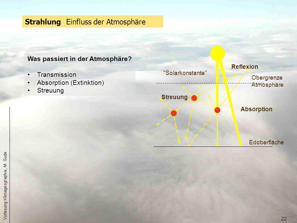 22 Strahlung Einfluss der Atmosphäre Obergrenze Atmosphäre Edoberfläche Absorption Reflexion Streuung