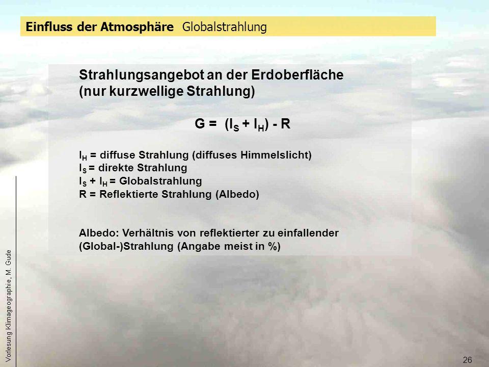 26 Einfluss der Atmosphäre Globalstrahlung Strahlungsangebot an der Erdoberfläche (nur kurzwellige Strahlung) G = (I S + I H ) - R I H = diffuse Strah