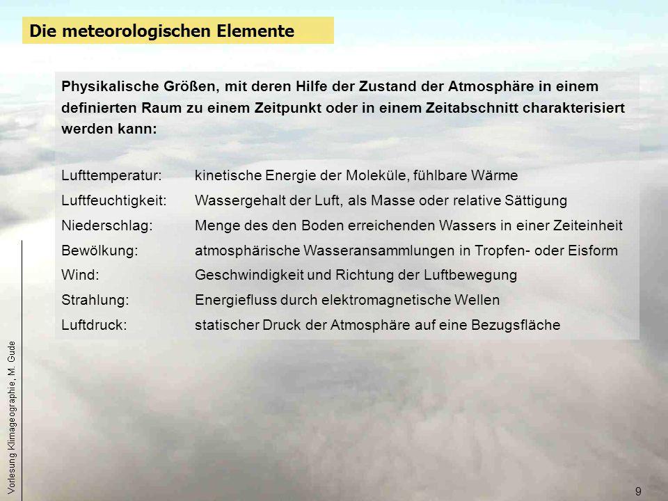 9 Die meteorologischen Elemente Physikalische Größen, mit deren Hilfe der Zustand der Atmosphäre in einem definierten Raum zu einem Zeitpunkt oder in