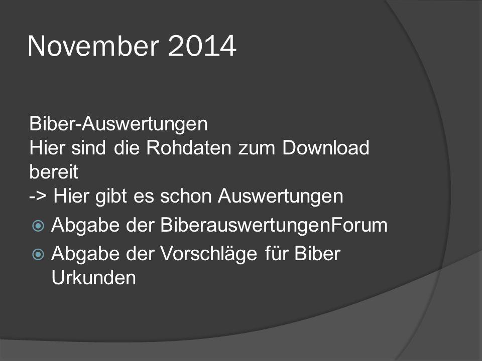 November 2014 Biber-Auswertungen Hier sind die Rohdaten zum Download bereit -> Hier gibt es schon Auswertungen  Abgabe der BiberauswertungenForum  Abgabe der Vorschläge für Biber Urkunden
