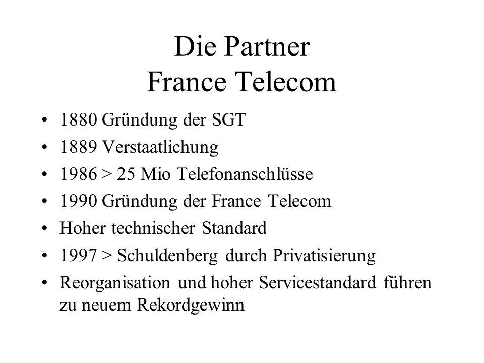 Die Partner France Telecom 1880 Gründung der SGT 1889 Verstaatlichung 1986 > 25 Mio Telefonanschlüsse 1990 Gründung der France Telecom Hoher technisch