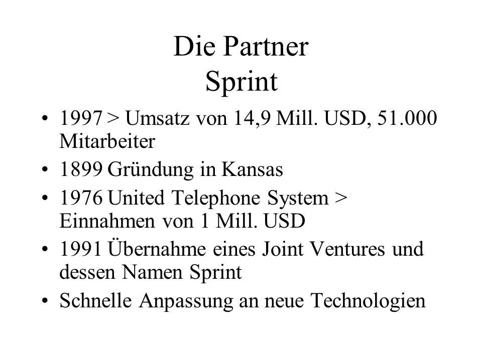 Die Partner Sprint 1997 > Umsatz von 14,9 Mill. USD, 51.000 Mitarbeiter 1899 Gründung in Kansas 1976 United Telephone System > Einnahmen von 1 Mill. U