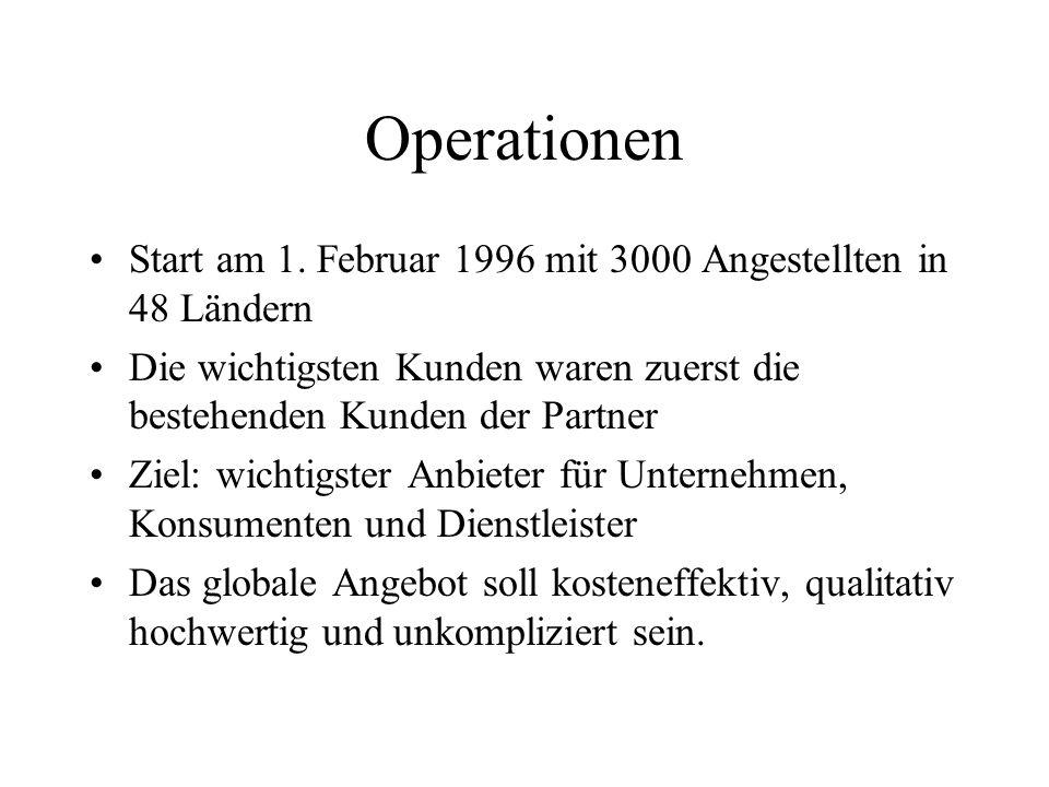 Operationen Start am 1. Februar 1996 mit 3000 Angestellten in 48 Ländern Die wichtigsten Kunden waren zuerst die bestehenden Kunden der Partner Ziel: