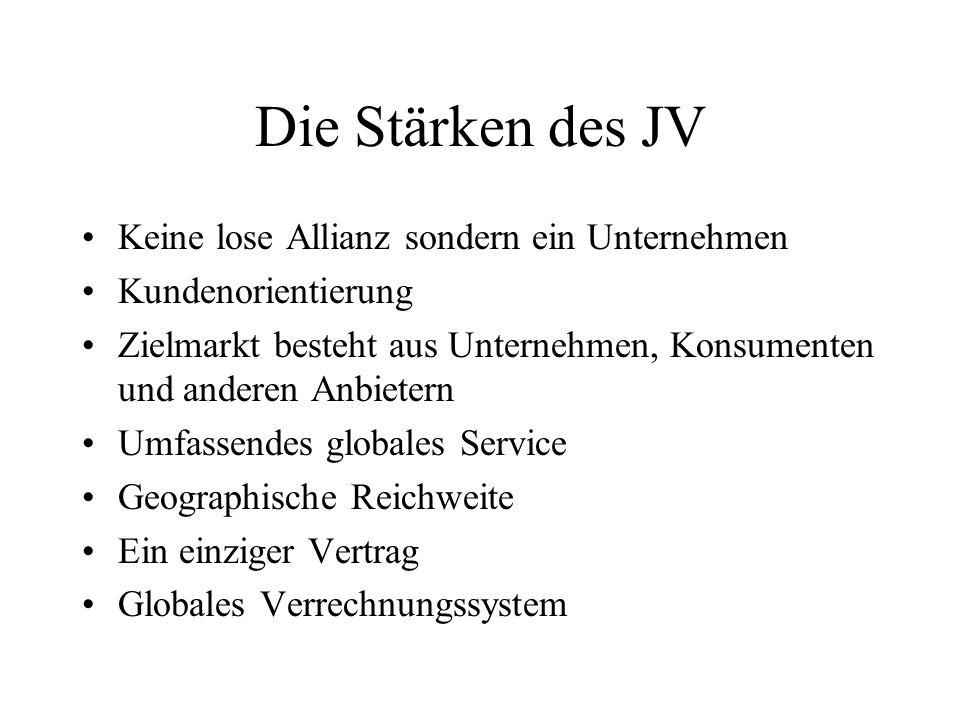 Die Stärken des JV Keine lose Allianz sondern ein Unternehmen Kundenorientierung Zielmarkt besteht aus Unternehmen, Konsumenten und anderen Anbietern