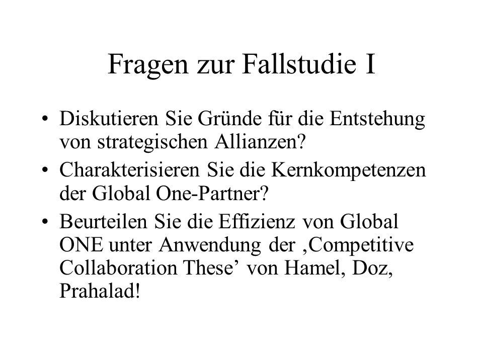 Fragen zur Fallstudie I Diskutieren Sie Gründe für die Entstehung von strategischen Allianzen? Charakterisieren Sie die Kernkompetenzen der Global One