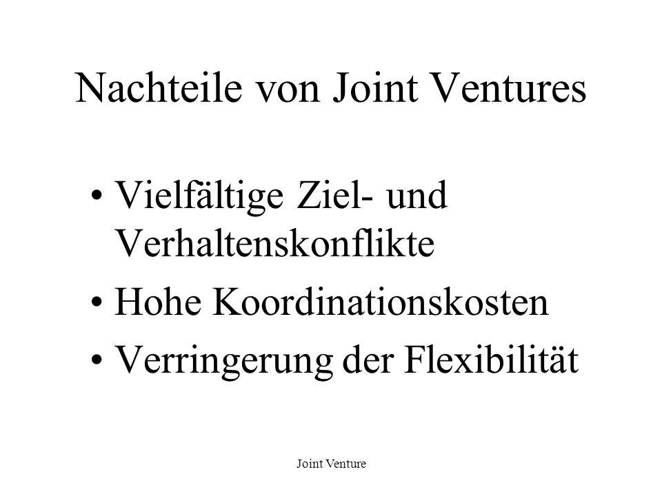 Joint Venture Nachteile von Joint Ventures Vielfältige Ziel- und Verhaltenskonflikte Hohe Koordinationskosten Verringerung der Flexibilität