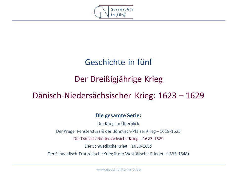 www.geschichte-in-5.de Überblick Datum 1623 – 1629 Ort Heiliges Römisches Reich Beginn Gründung der Haager Allianz Ende Frieden von Lübeck 2 Die Beteiligten Christian IV von Dänemark (12.