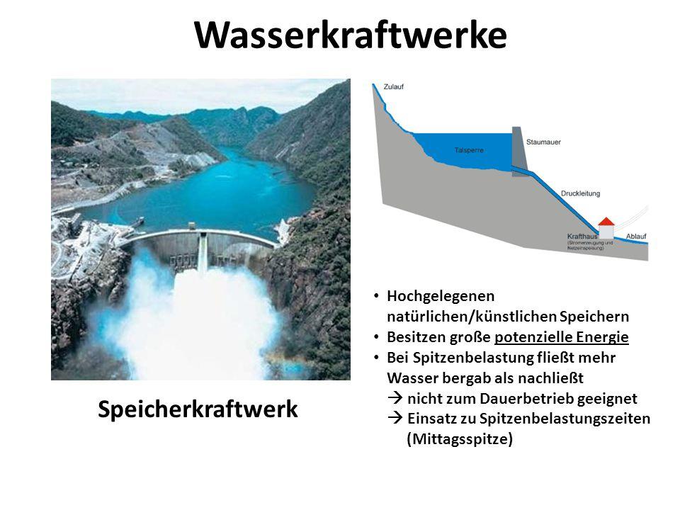 Wasserkraftwerke Speicherkraftwerk Hochgelegenen natürlichen/künstlichen Speichern Besitzen große potenzielle Energie Bei Spitzenbelastung fließt mehr