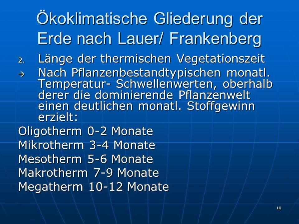 10 Ökoklimatische Gliederung der Erde nach Lauer/ Frankenberg 2. Länge der thermischen Vegetationszeit  Nach Pflanzenbestandtypischen monatl. Tempera