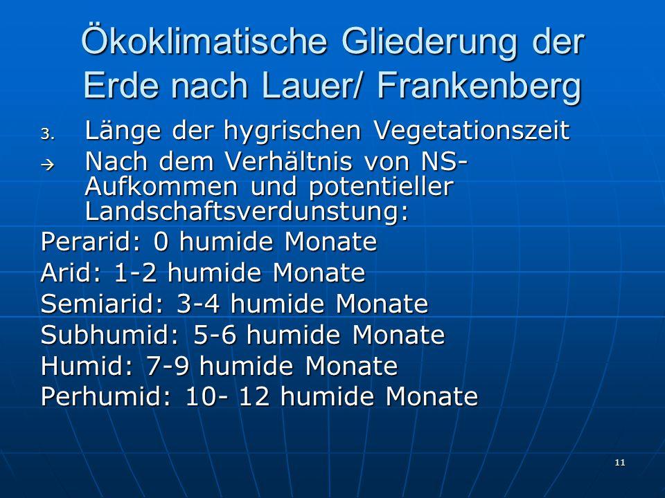 11 Ökoklimatische Gliederung der Erde nach Lauer/ Frankenberg 3. Länge der hygrischen Vegetationszeit  Nach dem Verhältnis von NS- Aufkommen und pote