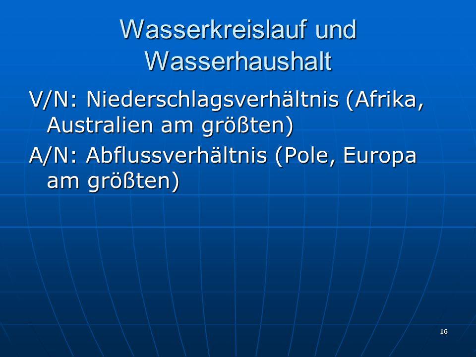 16 Wasserkreislauf und Wasserhaushalt V/N: Niederschlagsverhältnis (Afrika, Australien am größten) A/N: Abflussverhältnis (Pole, Europa am größten)