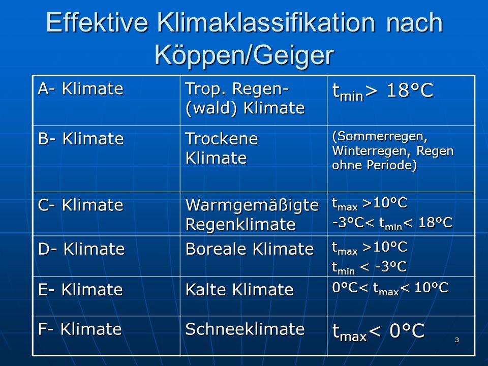 3 Effektive Klimaklassifikation nach Köppen/Geiger A- Klimate Trop. Regen- (wald) Klimate t min > 18°C B- Klimate Trockene Klimate (Sommerregen, Winte
