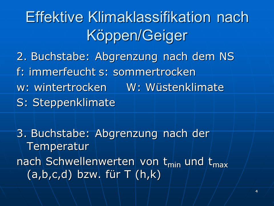 4 Effektive Klimaklassifikation nach Köppen/Geiger 2. Buchstabe: Abgrenzung nach dem NS f: immerfeuchts: sommertrocken w: wintertrockenW: Wüstenklimat