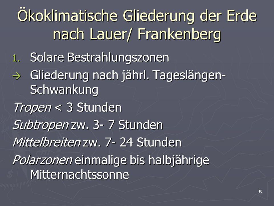 10 Ökoklimatische Gliederung der Erde nach Lauer/ Frankenberg 1. Solare Bestrahlungszonen  Gliederung nach jährl. Tageslängen- Schwankung Tropen < 3