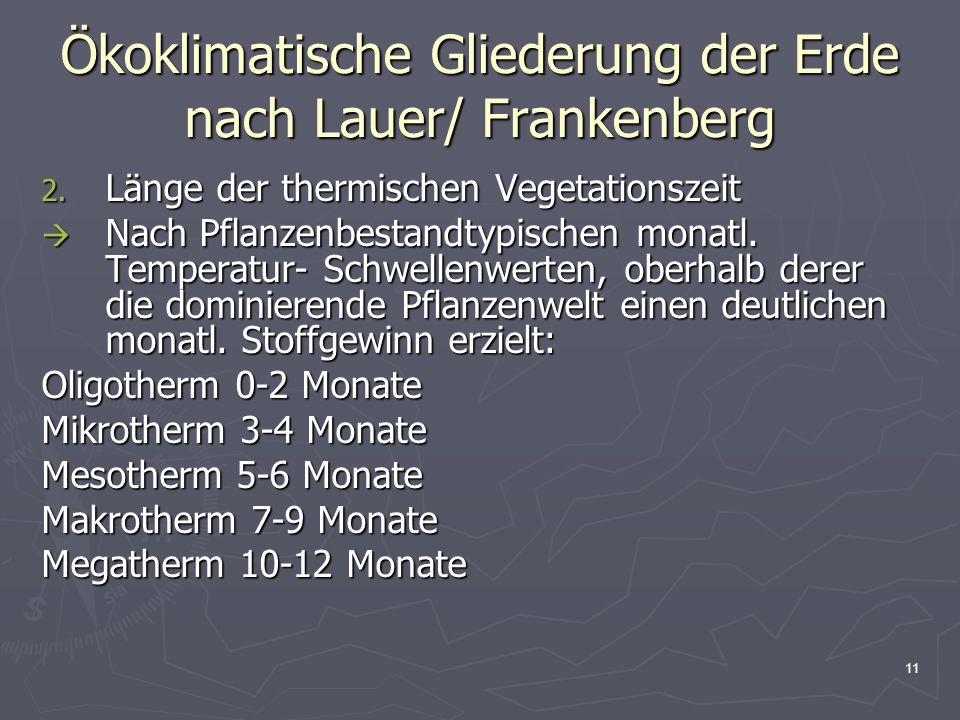 11 Ökoklimatische Gliederung der Erde nach Lauer/ Frankenberg 2. Länge der thermischen Vegetationszeit  Nach Pflanzenbestandtypischen monatl. Tempera