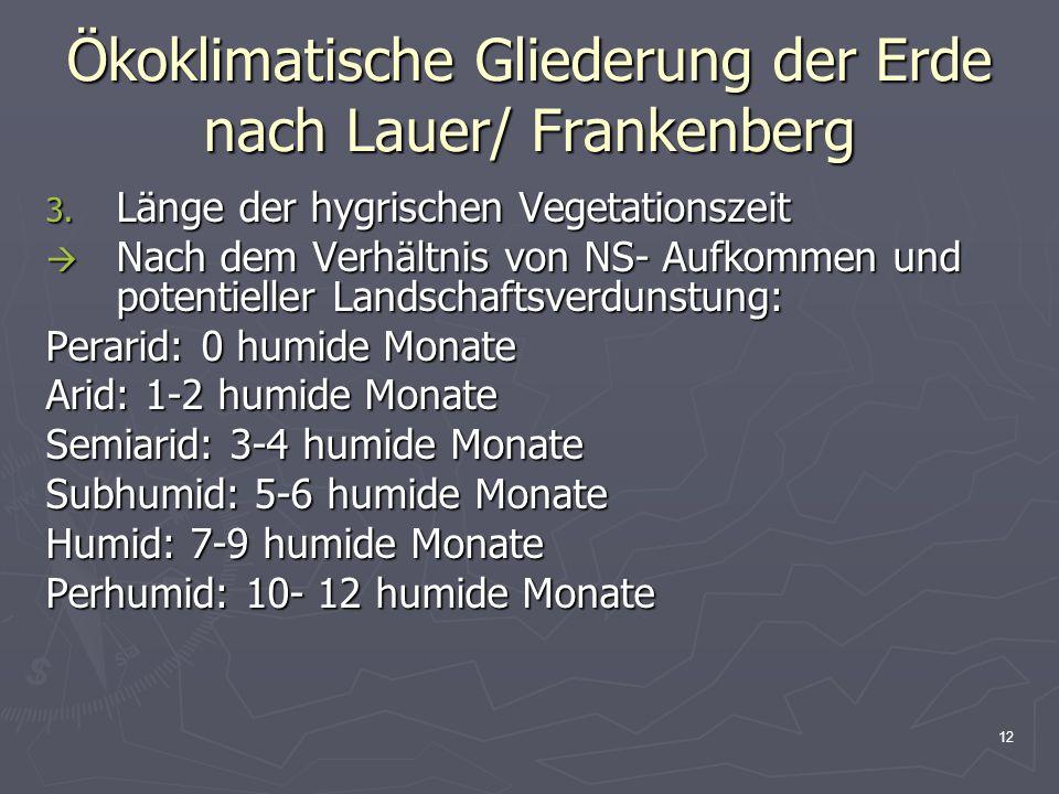 12 Ökoklimatische Gliederung der Erde nach Lauer/ Frankenberg 3. Länge der hygrischen Vegetationszeit  Nach dem Verhältnis von NS- Aufkommen und pote