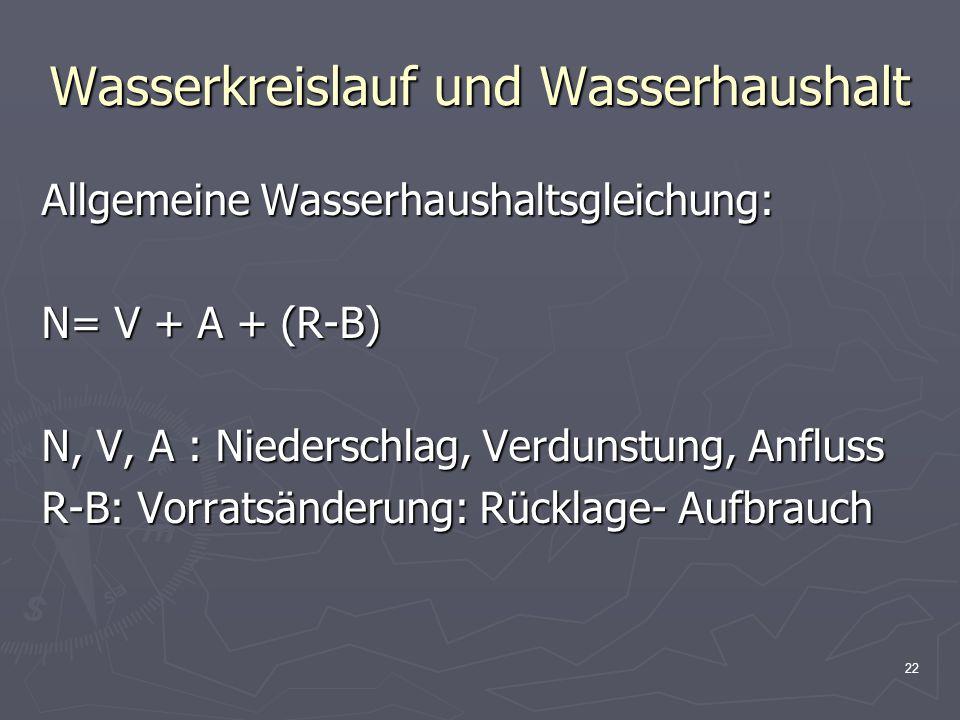 22 Wasserkreislauf und Wasserhaushalt Allgemeine Wasserhaushaltsgleichung: N= V + A + (R-B) N, V, A : Niederschlag, Verdunstung, Anfluss R-B: Vorratsä