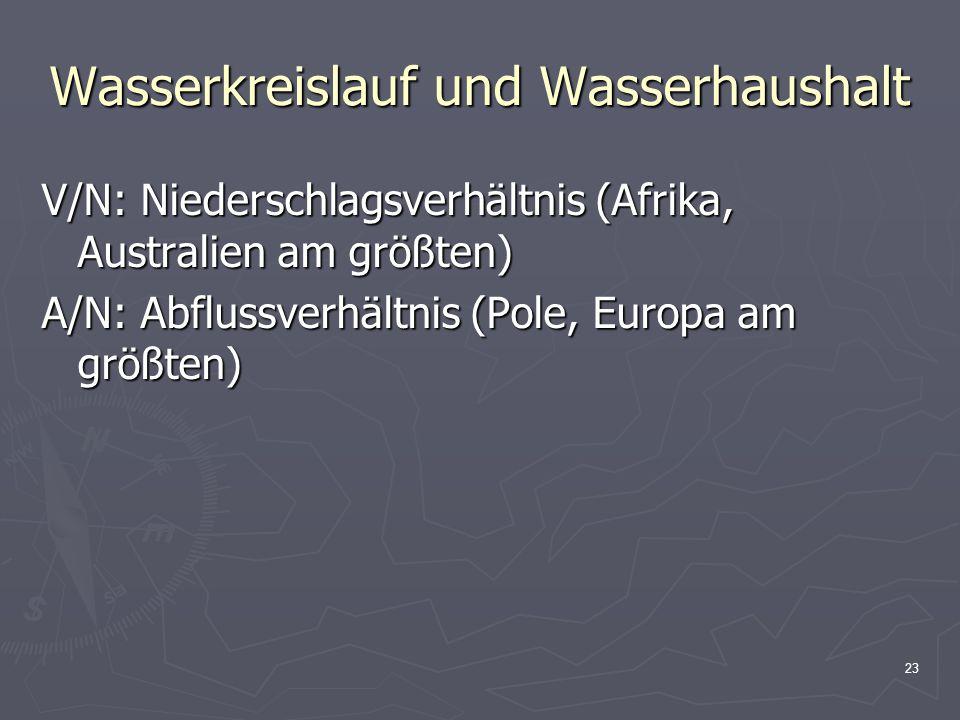 23 Wasserkreislauf und Wasserhaushalt V/N: Niederschlagsverhältnis (Afrika, Australien am größten) A/N: Abflussverhältnis (Pole, Europa am größten)