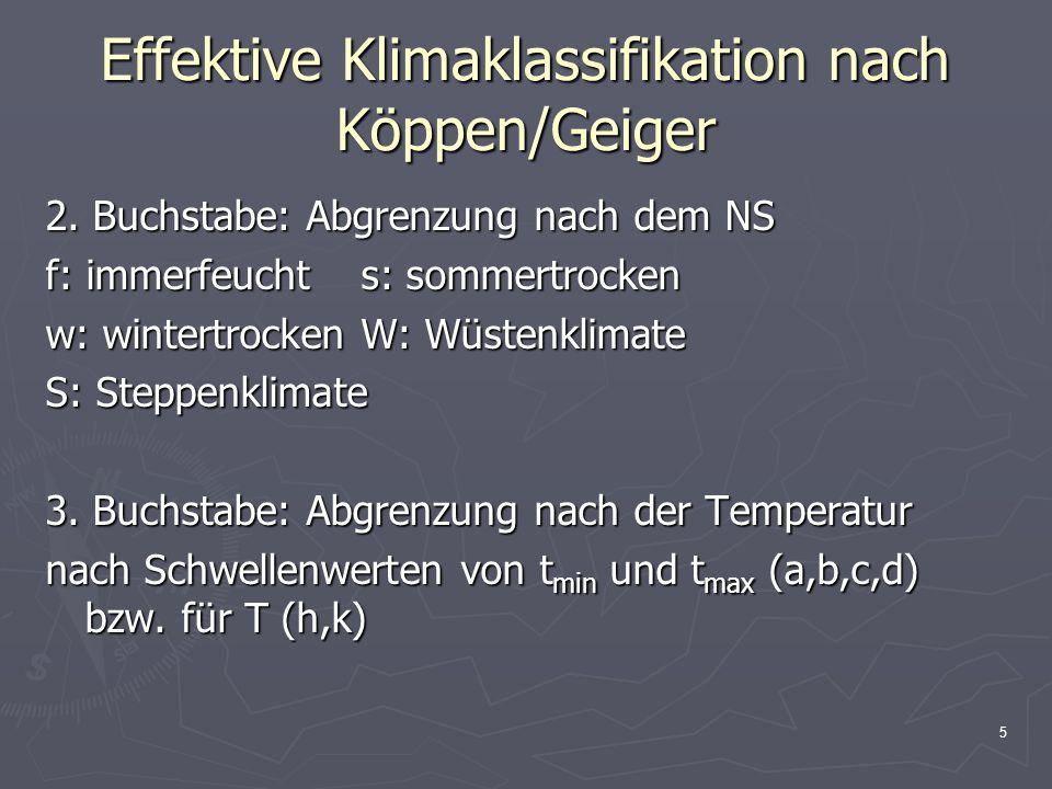 5 Effektive Klimaklassifikation nach Köppen/Geiger 2. Buchstabe: Abgrenzung nach dem NS f: immerfeuchts: sommertrocken w: wintertrockenW: Wüstenklimat
