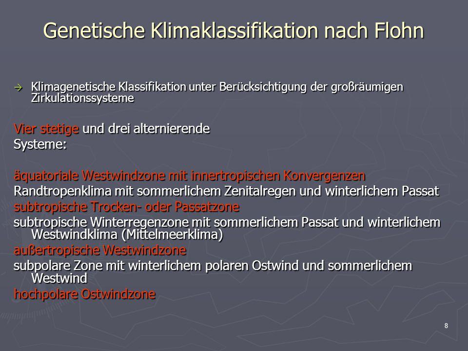 8 Genetische Klimaklassifikation nach Flohn  Klimagenetische Klassifikation unter Berücksichtigung der großräumigen Zirkulationssysteme Vier stetige