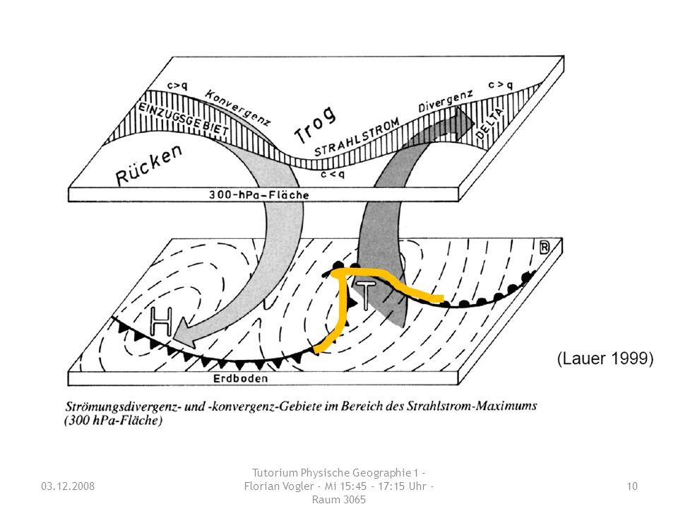 03.12.2008 Tutorium Physische Geographie 1 - Florian Vogler - Mi 15:45 - 17:15 Uhr - Raum 3065 10