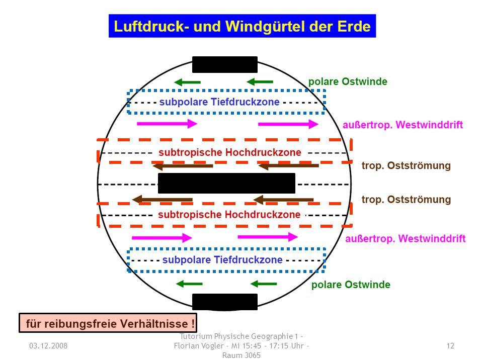 03.12.2008 Tutorium Physische Geographie 1 - Florian Vogler - Mi 15:45 - 17:15 Uhr - Raum 3065 12