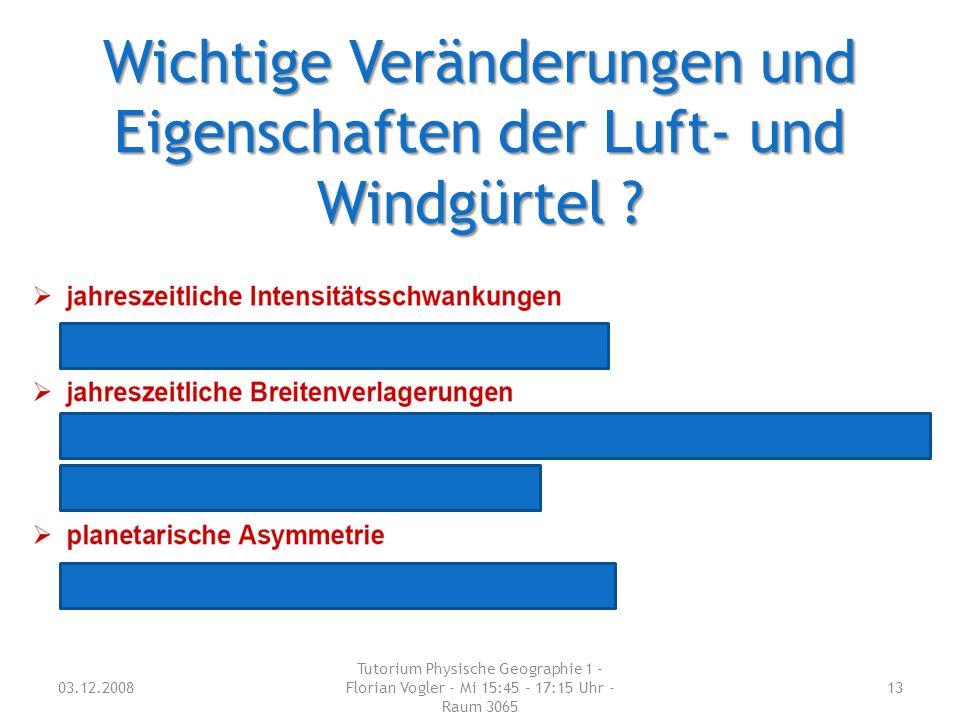 Wichtige Veränderungen und Eigenschaften der Luft- und Windgürtel ? 03.12.2008 Tutorium Physische Geographie 1 - Florian Vogler - Mi 15:45 - 17:15 Uhr