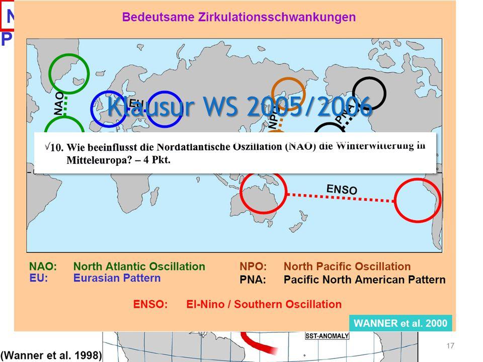 Frage 6 03.12.2008 Tutorium Physische Geographie 1 - Florian Vogler - Mi 15:45 - 17:15 Uhr - Raum 3065 17  Welche weiteren bedeutenden Zirkulationssc