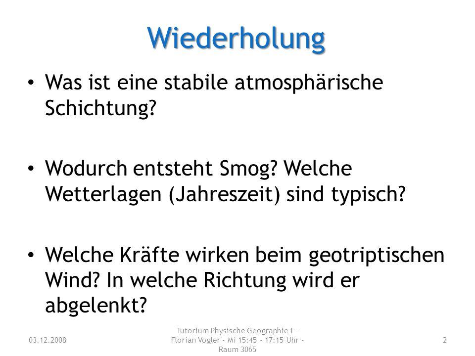 Wiederholung Was ist eine stabile atmosphärische Schichtung? Wodurch entsteht Smog? Welche Wetterlagen (Jahreszeit) sind typisch? Welche Kräfte wirken