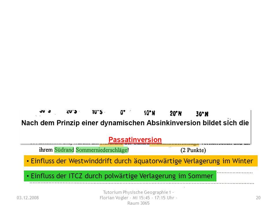 03.12.2008 Tutorium Physische Geographie 1 - Florian Vogler - Mi 15:45 - 17:15 Uhr - Raum 3065 20 Zentralklausur WS 2004/2005 Nachklausur WS 2004/2005